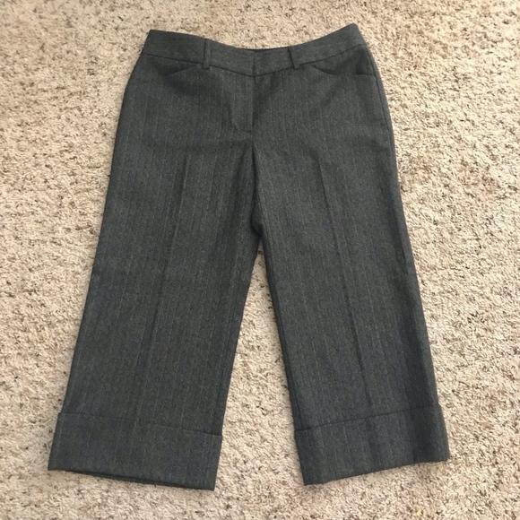 Elie Tahari Pants - ELIE TAHARI Pinstriped Cropped Cuffed Wool Pants